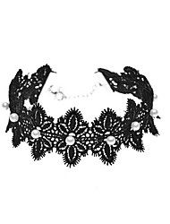 Choker Necklaces Imitation Pearl Pearl Imitation Pearl Lace Flower Fashion Personalized Euramerican Simple Style Black JewelryDaily