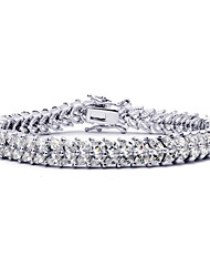 Women's Chain Bracelet Crystal Crystal Zircon Cubic Zirconia Alloy Natural Fashion Round Silver Jewelry 1pc