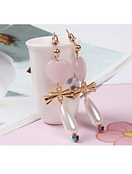 Stud Earrings Drop Earrings Pearl Gem Alloy Heart Drop Candy Pink Jewelry Daily Casual 1 pair