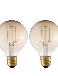2W E26/E27 Lampadine LED a incandescenza G80 2 COB 180 lm Ambra Decorativo V 2 pezzi