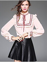 Women's Going out Casual/Daily Vintage Shirt,Solid Stand Long Sleeve White Multi-color Silk