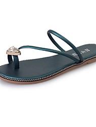 Women's Slippers & Flip-Flops Summer PU Outdoor Casual Rhinestone Black Red Green