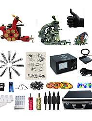 Kit de Tatuagem Completo 2 x máquina de tatuagem liga para revestimento e sombreamento 2 máquinas de tatuagemFonte de Alimentação