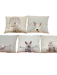 Set of 5 cute pet dog  pattern  Linen Pillow Case Bedroom Euro Pillow Covers 18x18 inches  Cushion cover