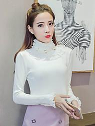 Damen Solide Einfach Lässig/Alltäglich T-shirt,Rollkragen Frühling Herbst Langarm Rosa Rot Weiß Baumwolle Polyester Mittel