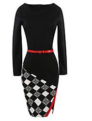 Women's Formal Party Vintage Bodycon Dress,Color Block Check V Neck Knee-length Long Sleeve Cotton Polyester Blue Black Summer