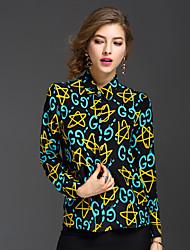 REVIENNE BAY Women's Going out Cute Spring Summer ShirtPrint Shirt Collar Long Sleeve Blue Silk