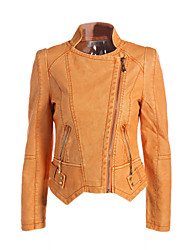 Women's Casual/Daily Vintage Street chic Spring Fall Leather Jacket,Solid Notch Lapel Long Sleeve Short Polyester