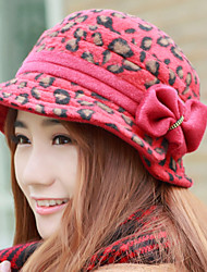Women Winter Cashmere Bow Leopard Printing Fashion Ladies Small Basin Hat Birthday Present