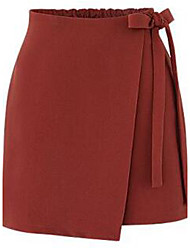Women's A Line Solid Layered Skirts,Casual/Daily Simple Mid Rise Above Knee Elasticity Polyester Inelastic Spring
