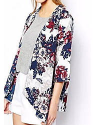 Women's Casual/Daily Simple Summer Fall Jacket,Floral Round Neck ½ Length Sleeve Regular Cotton