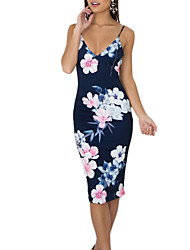 Women's Going out Casual/Daily Vintage Boho Backless Slim Sheath DressFloral Strap Knee-length Sleeveless Summer Fall Mid Rise Micro-elastic