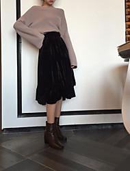 unterzeichnet koreanischen Herbst und Winter dicken Samt hohe Taille lang unregelmäßig Volants Röcke großen Rock