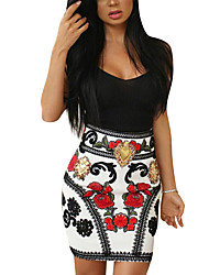 Casual/Daily Club Sexy Vintage Bodycon Dress,Floral Strap Above Knee Sleeveless Polyester Summer Fall High Rise Micro-elastic Medium