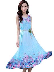 Women's Scoop Neck Sleeveless Floral Print Chiffon Long Dress (Print Random)