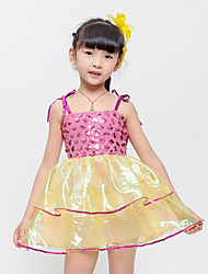 Children's Ballet Dance Dress Performance Polyester Bow(s) Sequins 1 Pieces Sleeveless Yellow/Fuchsia Kid's  Dancewear