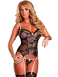 Women's Black and Nude Lace Bustier Set