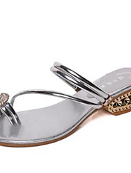 Women's Sandals Spring Summer Fall Toe Ring Comfort PU Outdoor Casual Low Heel Rhinestone Applique Silver Gold