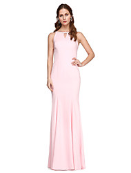 Prom Formal Evening Dress - Elegant Sheath / Column Jewel Floor-length Chiffon with Beading Pleats