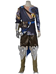 Inspired by Overwatch Video Game Cosplay Costumes Cosplay Suits Cosplay Tops/Bottoms Polka Dot Blue Gray GoldenTop Hakama Pants