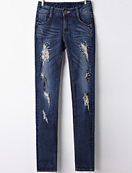 Hot new Korean explosion Korean tidal hole feet Slim was thin stretch jeans spring models real shot