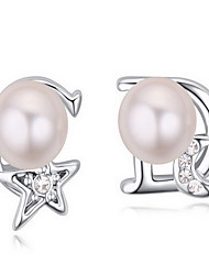 Stud Earrings Crystal Pearl Alloy Natural Star Moon White Black Fuchsia Copper Light Green Jewelry Daily 1 pair