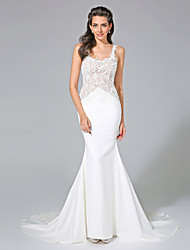 Mermaid / Trumpet Straps Court Train Lace Satin Wedding Dress with Appliques by LAN TING BRIDE®