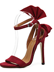 Feminino-Saltos-Sapatos clube-Salto Agulha-Preto Vermelho-Flanelado-Social