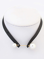 Women's Choker Necklaces Tattoo Choker Pearl Imitation Pearl Velvet Round Tattoo Style Fashion Black Jewelry Casual 1pc