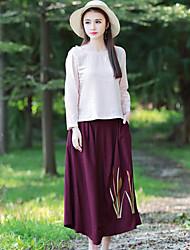 2017 Frühjahr neue nationale Wind bestickten Kleid literarisch retro elastische Taille große Schaukel Röcke