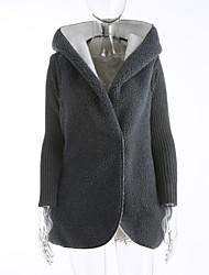 Normal Cardigan Femme Soirée Sortie simple Actif,Couleur Pleine Col en V Manches Longues Laine Automne Hiver Epais Micro-élastique