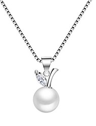 925 Necklace Pendant Necklaces Jewelry Party Birthday Daily Round Unique Design Imitation Pearl Platinum Plated 1pc Gift Silver