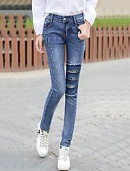 Da donna Taglie forti Skinny Jeans Chino Pantaloni-Moda città Casual Con stampe Strappato A vita medio-alta Cerniera Bottoni Cotone