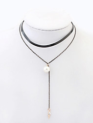 Women's Choker Necklaces Pearl Alloy Taper Shape Imitation Pearl Fashion Black Jewelry Daily 1pc