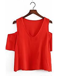 Damen Solide Sexy Einfach Street Schick Ausgehen Lässig/Alltäglich T-shirt,V-Ausschnitt Frühling Herbst Ärmellos Baumwolle Mittel