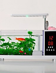 Mini Aquarium Fish Tank LED Colorful Light FM Radio Digital Clock USB
