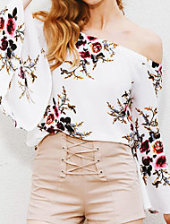 Women's Going out Holiday Simple Summer Blouse,Floral Off Shoulder Long Sleeve White Beige Polyester Medium