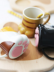 Novelty Drinkware, 270 ml Decoration Cute Ceramic Cat Feet Shaped Coffee Juice Coffee Mug