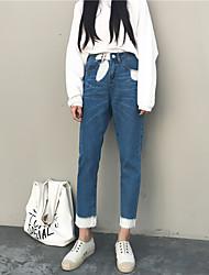 подписать новый 2017 год весна ретро гонконг вкус был тонкий носить белые джинсы женские свободные заусенцы