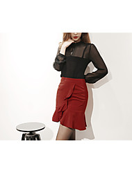 Модель реальный выстрел корейский торговый +2017 весной новый сексуальный полая шифона рубашка + пакет бедра юбка костюм