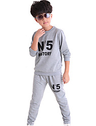 Boy's Fashion Casual/Daily Sports School Print Sets Cotton Spring/Fall Long Sleeve Pants 2 Piece Clothing Set Children's Garments