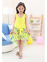 Girl's Floral Dress,Chiffon / Cotton Blend Summer Pink / White / Yellow