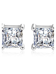 925 Sterling Silver Stud Earrings Imitation Diamond AAA Cubic Zirconia  Cubic Zirconia Classic Elegant Square Silver JewelryWedding Party