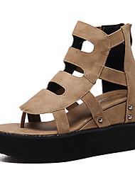 Damen-Sandalen-Lässig-PU-KeilabsatzSchwarz Khaki