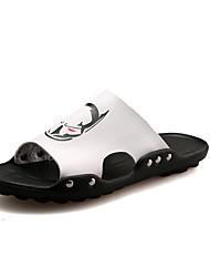 New Men Fashion Slippers & Flip-Flops Comfort PU Outdoor Casual Flat Heel Strange Patterns Black White Walking