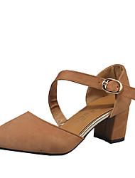 Women's Heels T-Strap PU Spring Summer Casual T-Strap Hook & Loop Low Heel Black Green Khaki 3in-3 3/4in