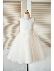 A-line Knee-length Flower Girl Dress - Satin Tulle Sleeveless Scoop with Beading Buttons Lace Sash / Ribbon