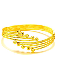 Bangles Copper Gold Plated 24K Plated Gold Natural Fashion Bohemian Round Gold Jewelry 1pc
