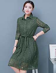 Sign Long skirts Korean version of the long section of lace long-sleeved lace dress bottoming Spring
