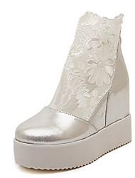 Damen-High Heels-Lässig-PU-Keilabsatz-Andere-Schwarz Weiß Silber